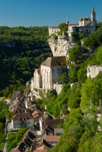 The spectacular medieval village of Rocamadour in Dordogne, built into a vertical limestone cliff.